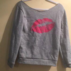 Tops - Woman's Medium Grey and Pink KISS Sweatshirtc